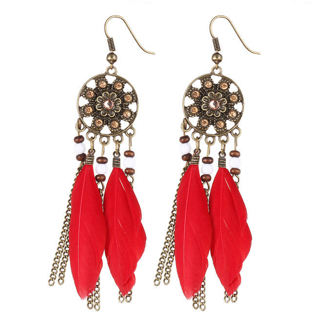 Dream Catcher Long Feather Drop Earrings - HippieRoad - 3
