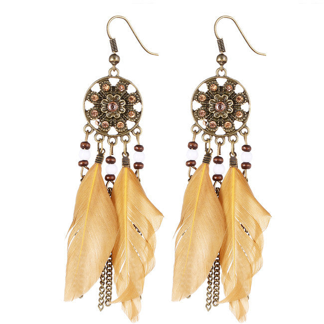 Dream Catcher Long Feather Drop Earrings - HippieRoad - 4