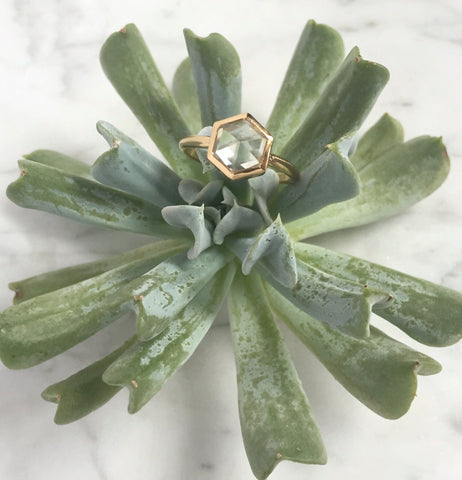 Hexagonal white sapphire in 14k gold hand fabricated setting