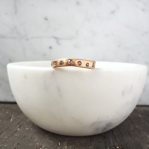 Rose gold and salt & pepper diamond wedding band