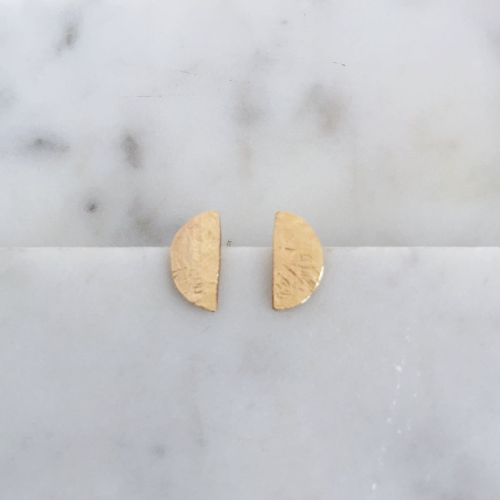Half moon stud earrings- 14k gold fill - Shepherd's Run Jewelry