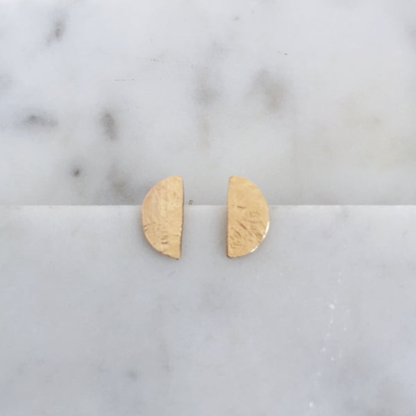 Half moon stud earrings- 14k gold fill