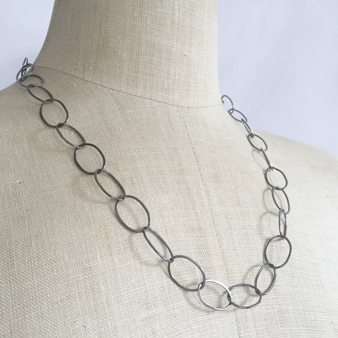 Organic oval handmade chain necklace - Shepherd's Run Jewelry