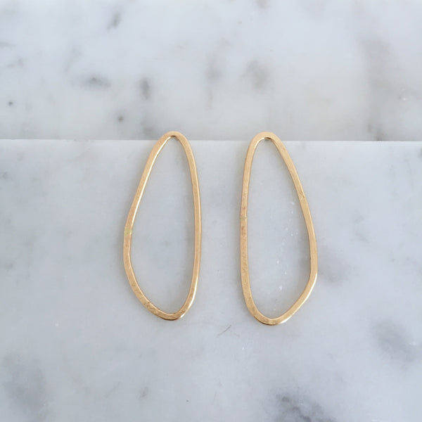 Organic Oval Studs- 14k yellow gold fill