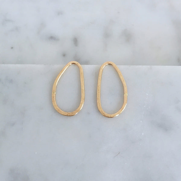 Organic Oval Studs- 14k yellow gold fill - Shepherd's Run Jewelry