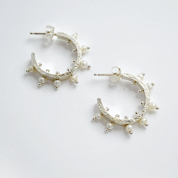 Radiant Pearl Hoop Earrings