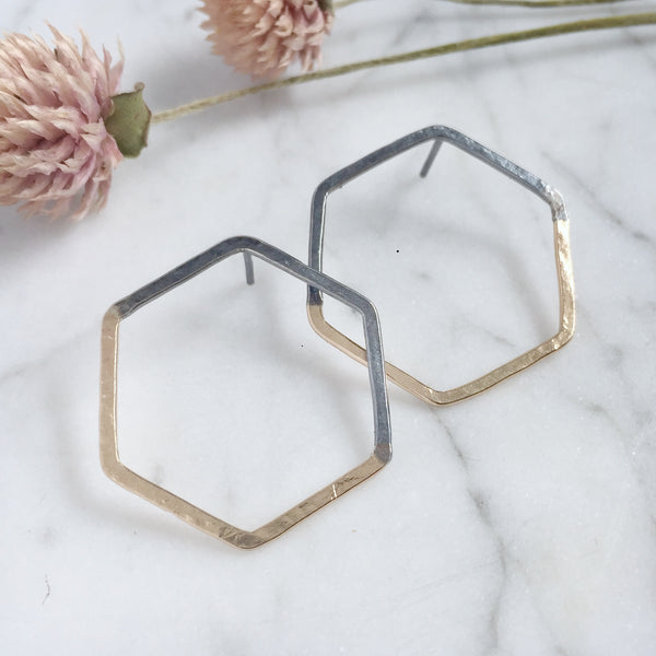 Hex half and half studs - Shepherd's Run Jewelry