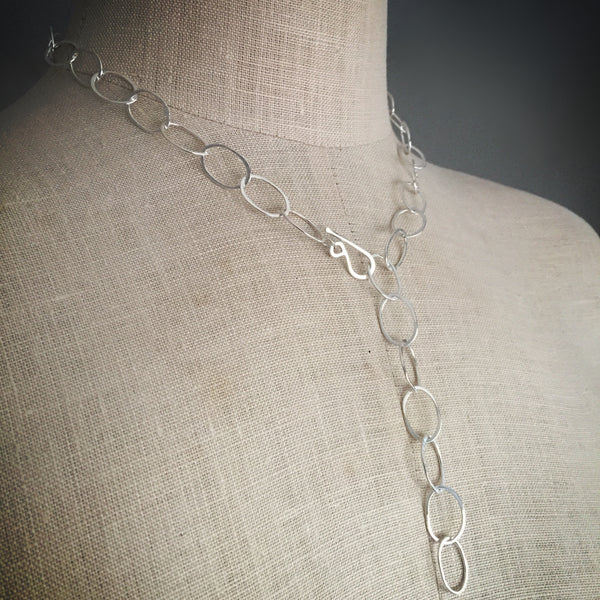 Organic oval handmade chain necklace