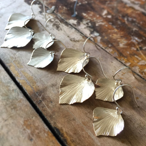 Goldfill ivy leaf earrings