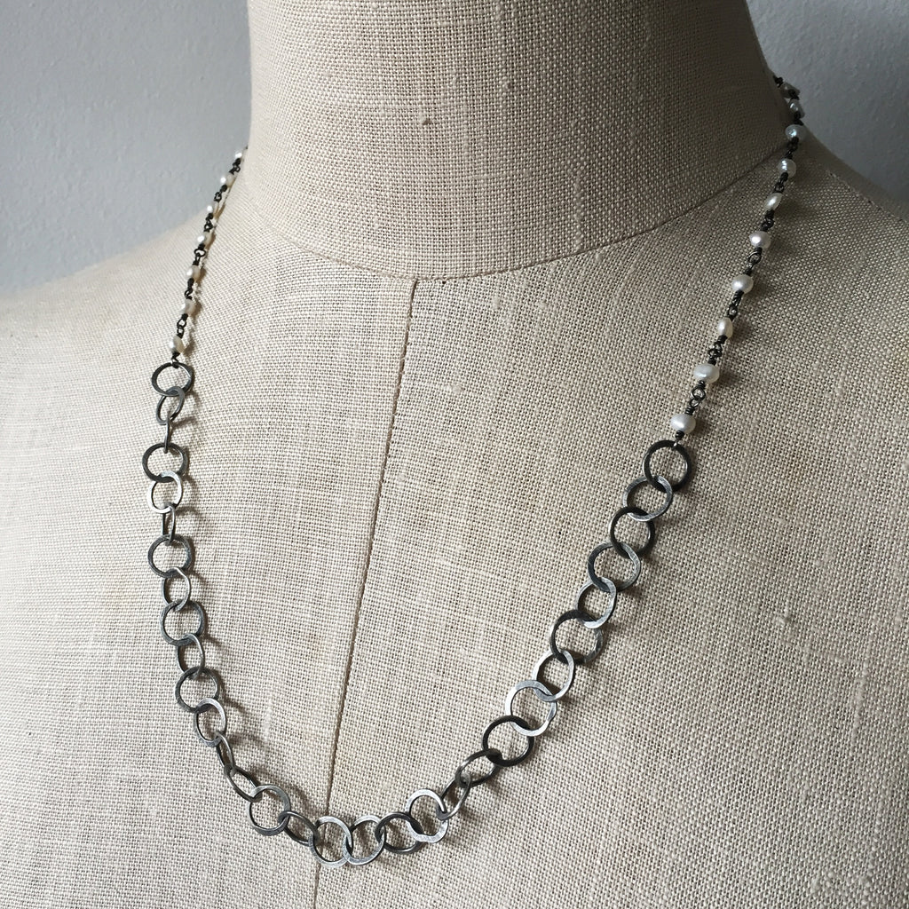 Pearl and handmade chain necklace - Shepherd's Run Jewelry