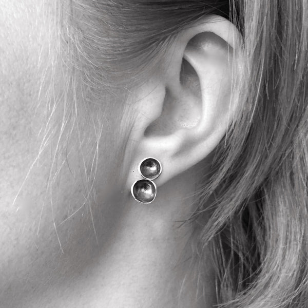 Oxidized double cup studs - Shepherd's Run Jewelry