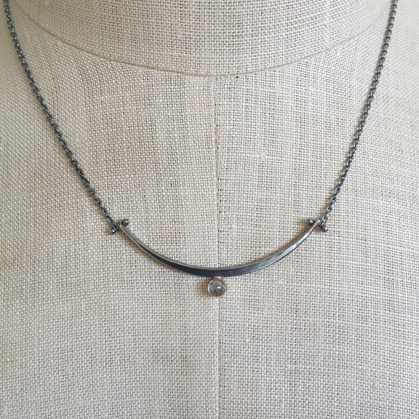 One of a kind Arc necklace with rose cut salt and pepper diamond
