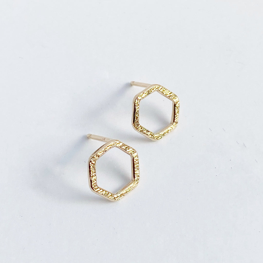 Small yellow gold fill hexagon stud earring