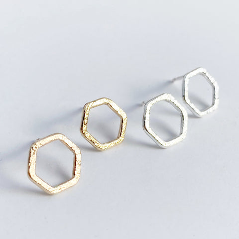 Small Hexagon Stud earrings- silver and gold