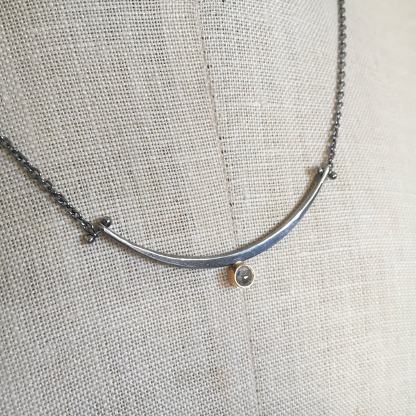 One of a kind Arc necklace with rose cut salt and pepper diamond - Shepherd's Run Jewelry