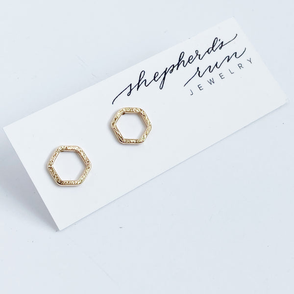 Small yellow gold fill hexagon stud