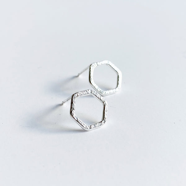 Small silver hexagon stud earring