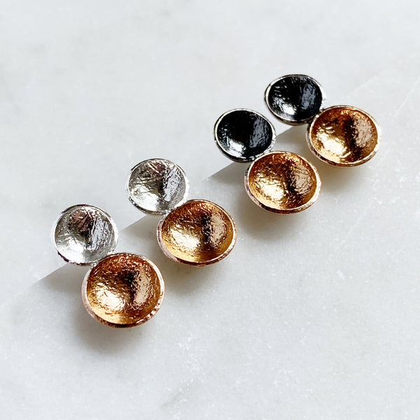 Double cup studs- mixed metal