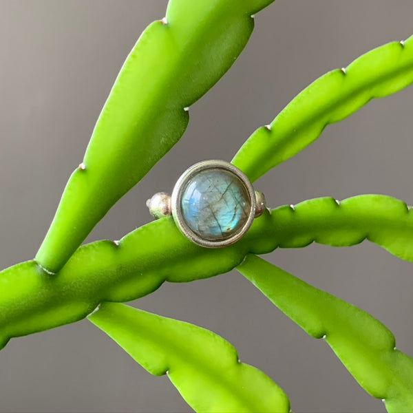 Halo Pebble Ring + Labradorite