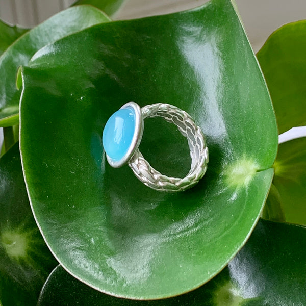 Rope Ring +Misty Blue Chalcedony