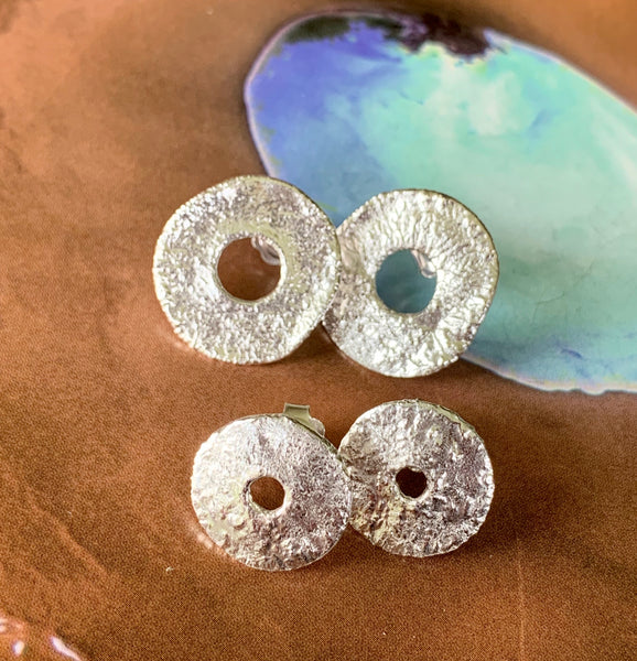 Crusty silver stud earrings - small