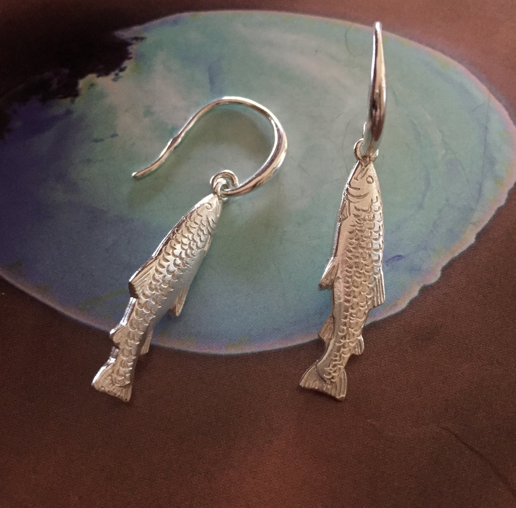 Fish drop earring