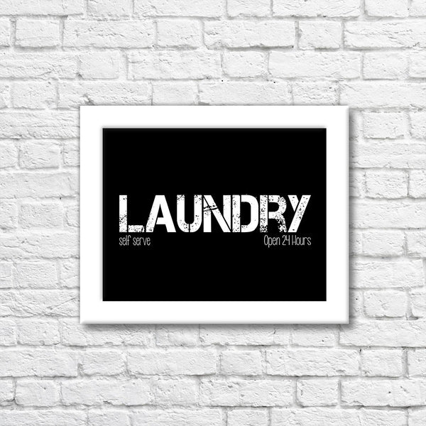24 Hour Laundry Art Print  Blue Orchid Designs
