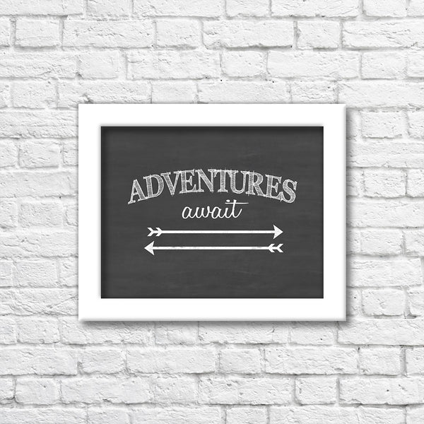 Adventure Awaits Chalkboard Art Print  Blue Orchid Designs