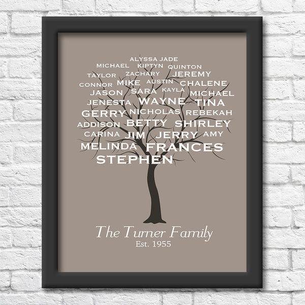 Personalized Family Tree Art Print Art Print Blue Orchid Designs