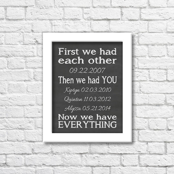 First We Had Each Other Chalkboard Art Print  Blue Orchid Designs