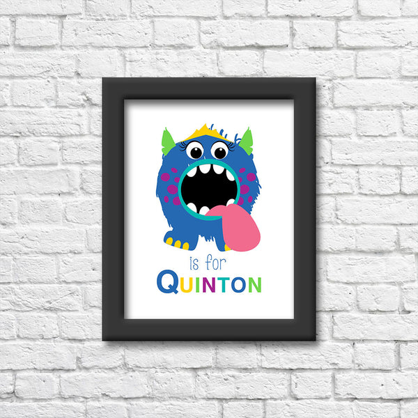 Monster Alphabet Personalized Name Art Print  Blue Orchid Designs