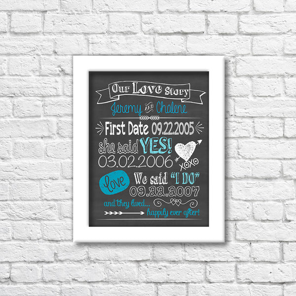 Our Love Story Chalkboard Art Print  Blue Orchid Designs