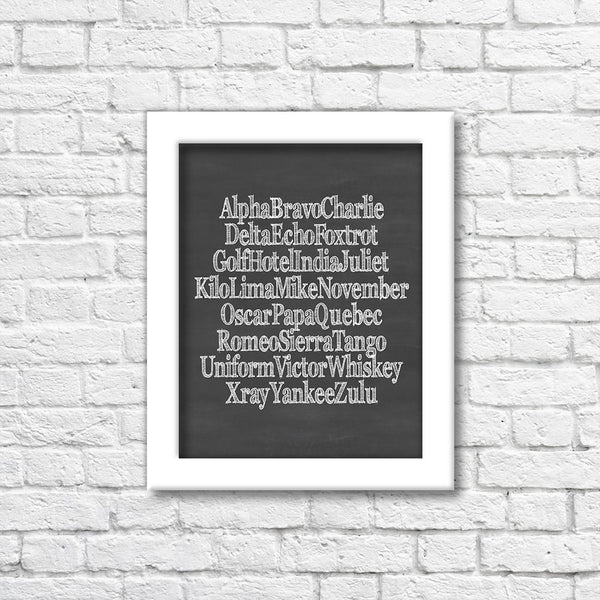Phonetic Alphabet Scratch Chalkboard Art Print