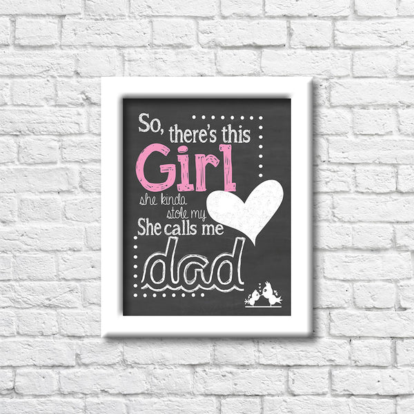 So There's A Girl Chalkboard Wall Art Print Art Print Blue Orchid Designs