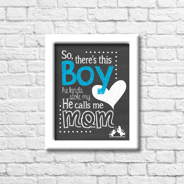So There's A Boy Chalkboard Wall Art Print Art Print Blue Orchid Designs