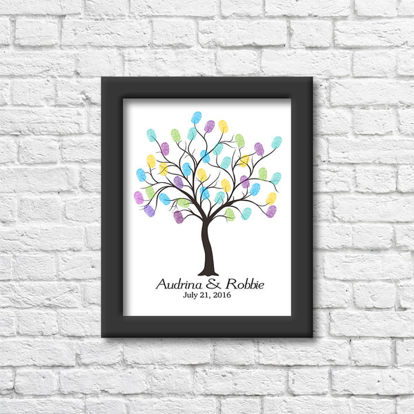 Personalized Thumb Print Bare Tree Art Print Art Print Blue Orchid Designs