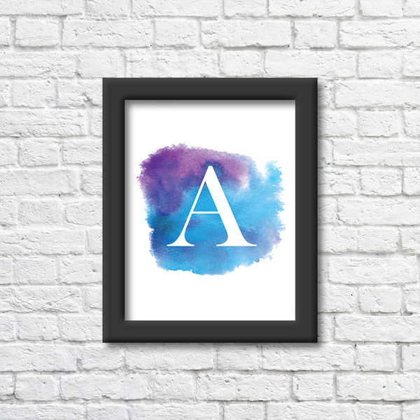 Watercolour Monogrammed Letter Art Print