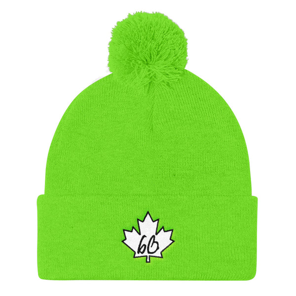 bb Maple Leaf Pom Pom Knit Beanie