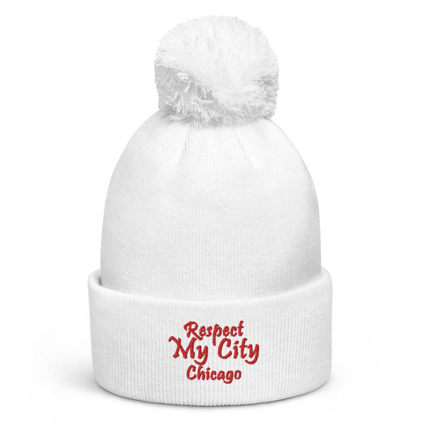 Respect My City Chicago Pom Pom Beanie