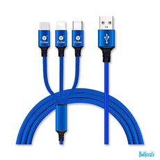 iPhone, Micro USB, & Type-C All in One 3.5ft Blue Charging Cable