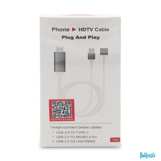 1080p Phone HDTV Cable 1M Plug And Play