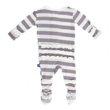 Kickee Pants Footie in Feather Stripe