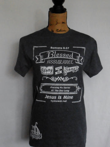 chalkboard design adult t shirt with words to Christian Hymn Blessed Assurance
