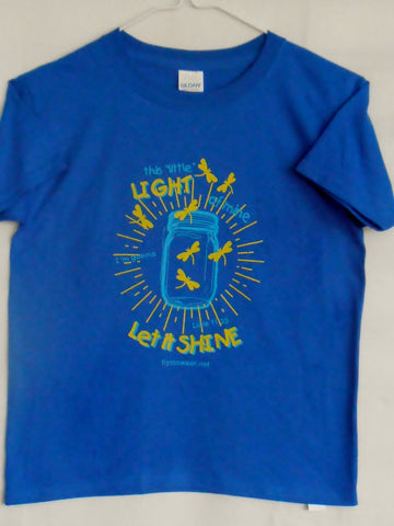 children's christian t shirt in royal blue or dark gray with light blue mason jar and  yellow fireflies with words to hymn This Little Light of Mine, I'm gonna let it Shine
