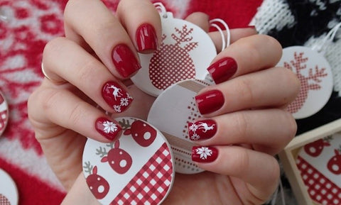 Christmas red nail style flowertushbeauty if you like designs like one in the above picture but you find it hard to do it yourself you can always use christmas nail stickers or stamping tool to solutioingenieria Image collections