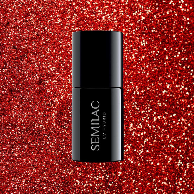 Semilac 318 Burgundy Red Glitter UV Gel Polish 7 ml