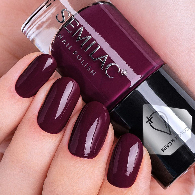 Semilac Nail Polish Colour & Care C795 Dark Purple