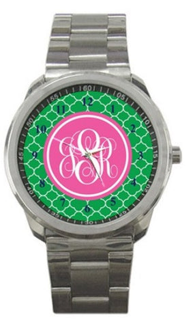 Monogrammed Stainless Steel Watch