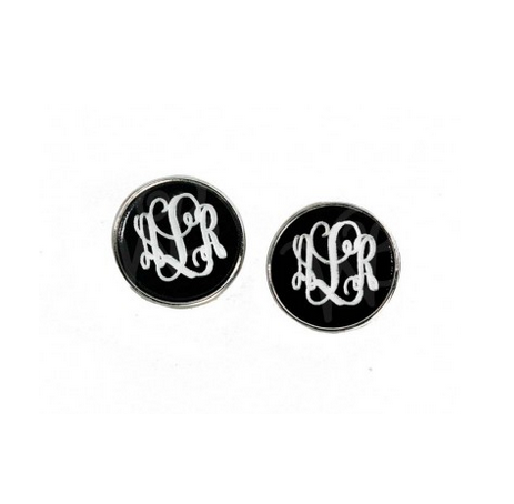 Black and Silver Post Earrings
