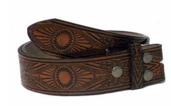 Brown Aztec Snap Belt